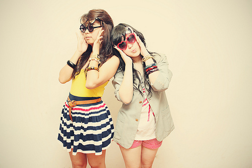 black hair, brown hair, color, crazy, cute, face, faces, fashion, friend, girl, girls, glasses, hair, heart glasses, model