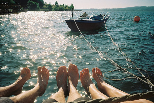boat, feet, photography, sea, water