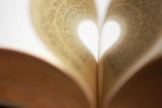 book, heart, love, words