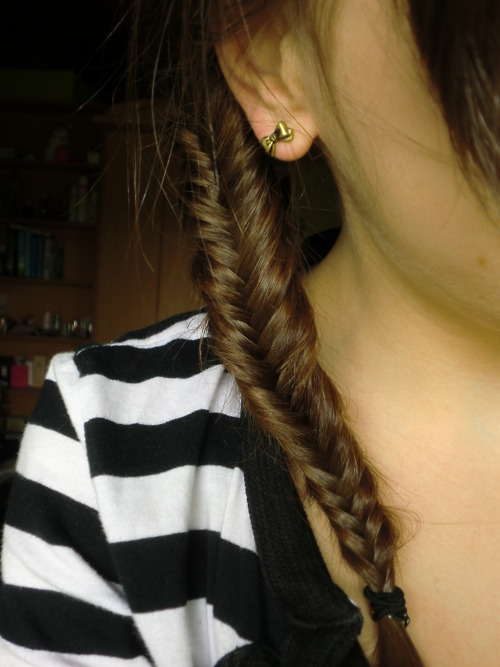 braid, brown, fishtail braid, girl, hair