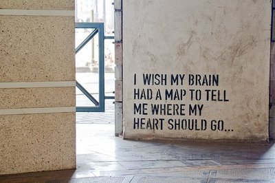 brain, heart, map, wall, wish