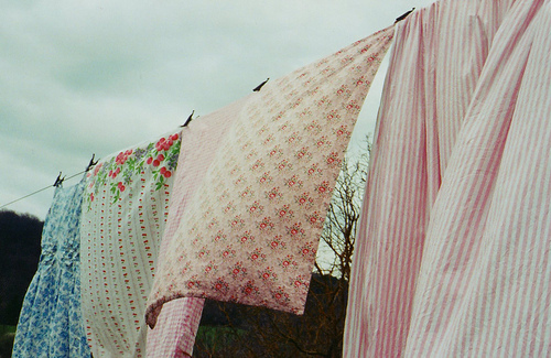 breeze, country, fabric, floral, laundry, lovely, stripes, spring, peaceful, sweet, pink, pretty