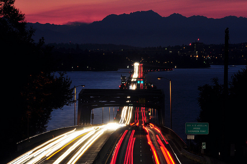 bridge, cars, lights, mountains, pink