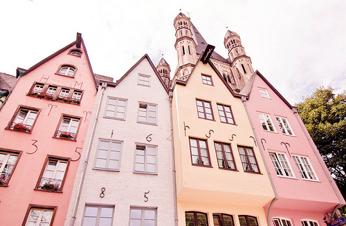 building, house, pastel, pink, separate with comma, vintage
