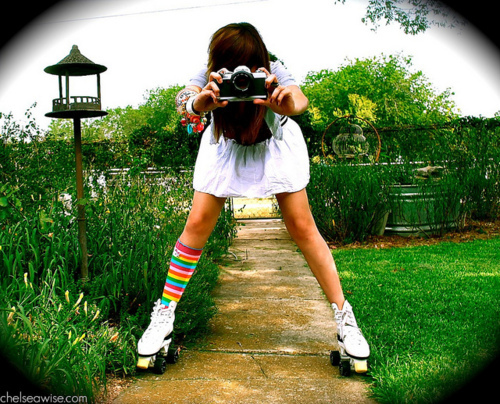 camera, girl, photography, rainbow, skates, skating, vintage
