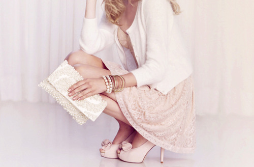 cardigan, dainty, delicate, dress, fashion, girl, gold, heels, lace, lovely, pearls, pink, pretty, romantic, sweet, white, woman