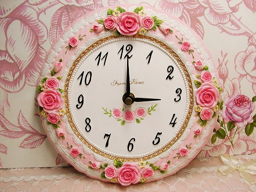 clock, cute clock, kawaii, pink, roses