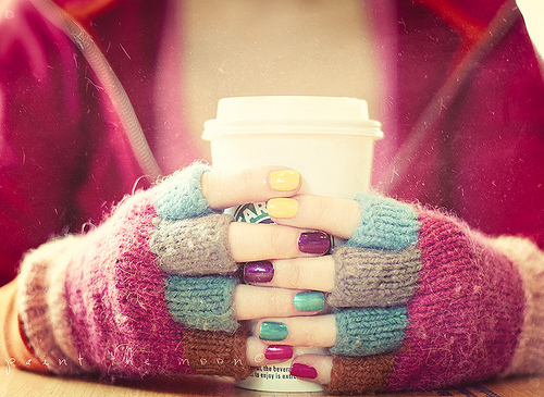 color, cool, cup, cute, gloves, hands, nails, separate with comma