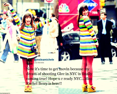 colours, cute, glee, glee cast, lea michele, new york, rachel berry