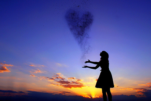 cool, cute, figure, girl, heart, love, separate with comma, sky, sunset