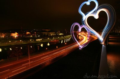 cool, cute, heart, lights, love, night, road