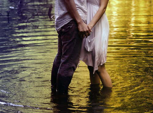 couple, cute, dress, holding hands, love, lovely, romantic, summer, sweet, water, wet