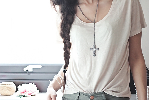 cross, fashion, girl, pigtail, style