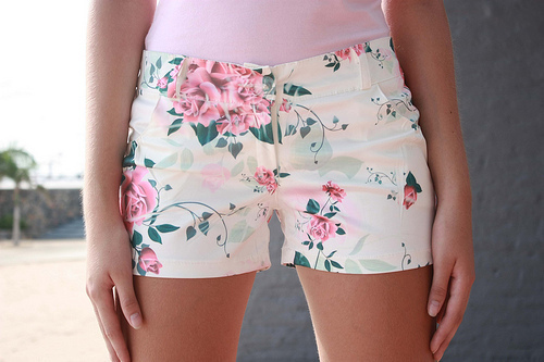 denim, denim shorts, fashion, floral, shorts