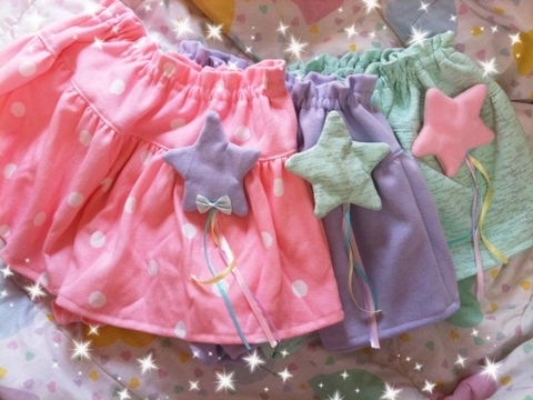 dots, fairy kei, fashion, harajuku, japanese, lolita, not lolita, paste, skirt, stars, sweet