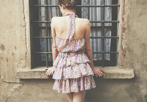dress, fashion, floral, lace, vintage, window