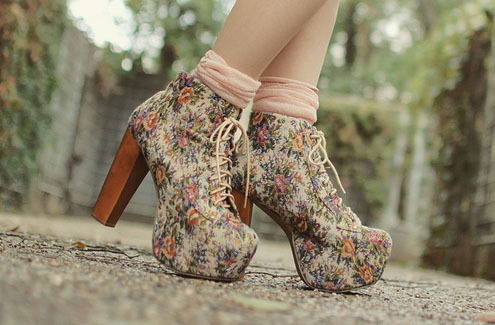 fashion, floral, high heels, jeffrey campbell, lita, shoes, vintage