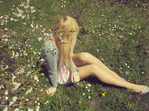 field, flowers, girl, lovely, pretty