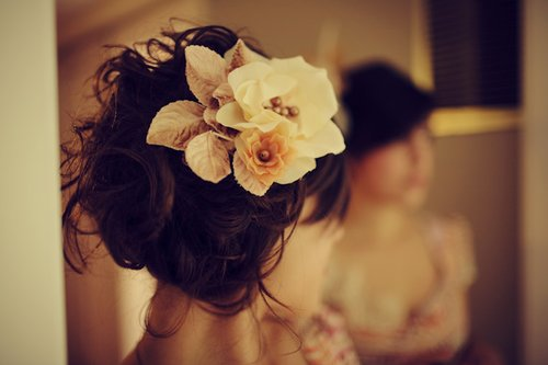 flower, hair, prom, separate with comma, updo, wedding