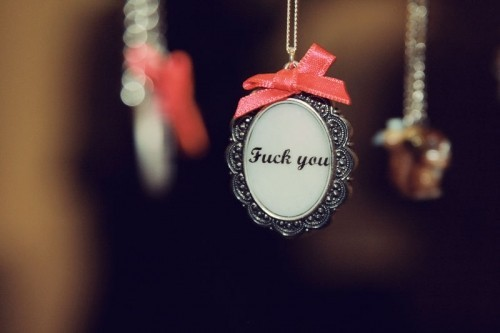 frame, fuck, fuck you, girly, jewelery, necklace, pink, pretty, quote, rebel, typography, you