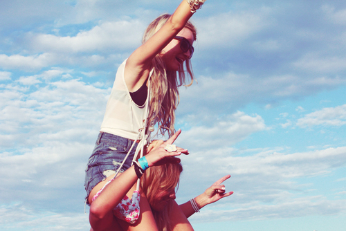 friends, girls, sky, summer