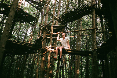 adventure, forest, guy, hot guy, male, man, photography, tree house, wonder, wooden bridge