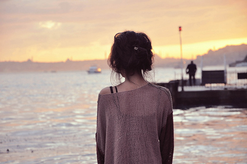alone, girl, lost and ocean