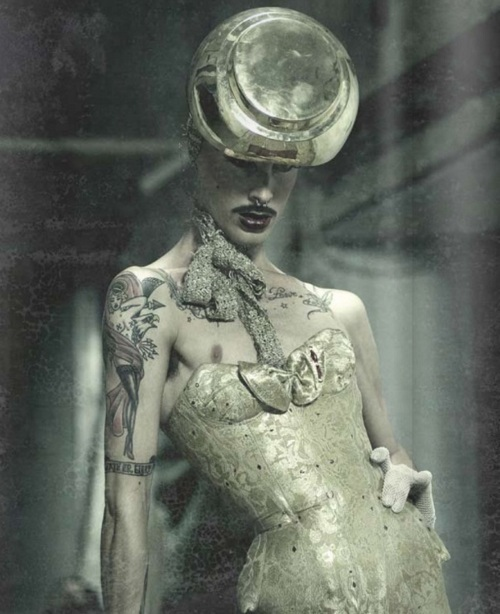 androgyny, corset, corsetry, drag, gender-blur, gender-fuck, gender-queer, gold, guys in corsets, guys who wear corsets, lovely, male model, man, men in corsets, moustache, skinny, thin, thinspo, top hat, weird