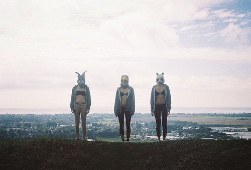 animals, girls, mask, outside, pretty, skyline, strange, weird
