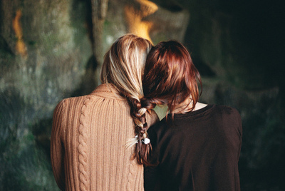 arms, back, beauty, blonde, braid, braided, braided together, friendship, ginger, girl, girls, hair, hidden face, light, love, photography, red, sweater, together, vintage
