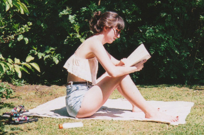 arms, backyard, beauty, book, girl