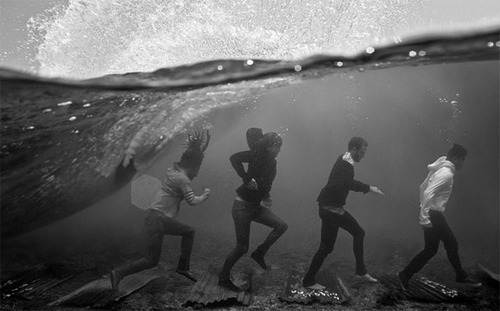 art, beautiful, black and white, lovely, ocean, underwater, walking, water, wave