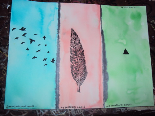 art, birds, feather, feathery, heart, hipster, kaylakays, love, mind, painting, soul, triangle