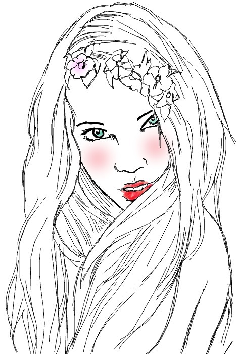 art, blonde, drawing, fairy, fashion, floral, flowers, girl, illustration, sketch