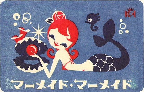 art, cute, kawaii, mermaid, retro