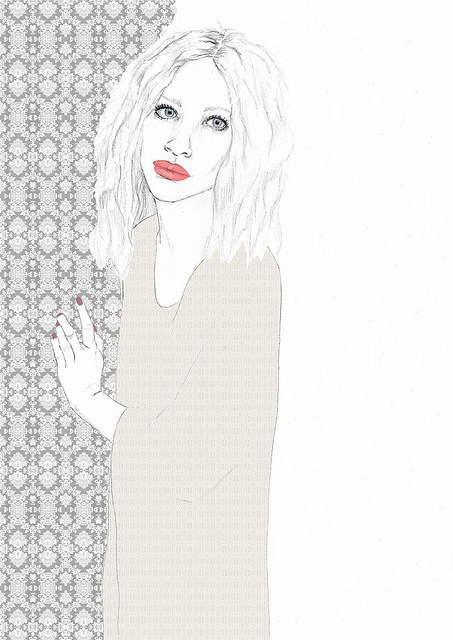 art, drawn, face, girl, hair, illustration, lace, lips, pattern