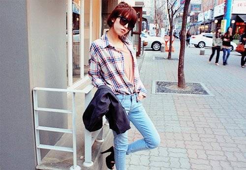 asian, cute, fashion, girl, glasses, hair, heals, jeans, kfashion, plaid, shades, shoes