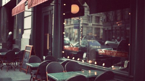 awning, cafe, chairs, fashion, reflection, string lights, stripes, tables, vintage