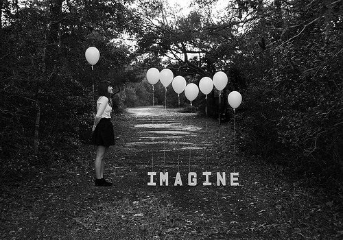 ballon, black and white, forest, girl, imagine