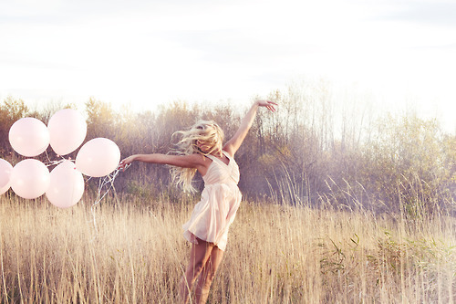 balloon, field, free, girl, lonely