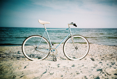 beach, bicycle, bike, blue, ocean, sand