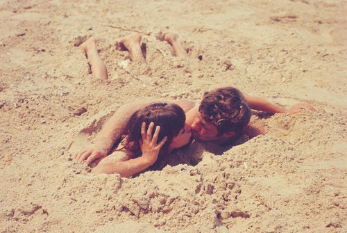 beach, boy, girl, love, sand