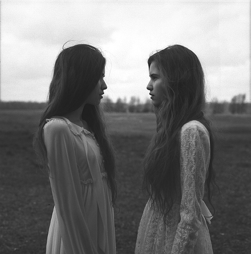 beautiful, black and white, catwalk, cute, dress, dresses, fashion, field, friends, friendship, girls, hair, lace, long hair, model, nature, photography, pretty