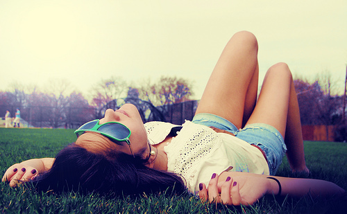 beautiful, girl, girl laying on grass, glasses, grass