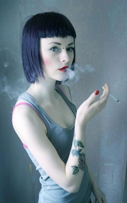 beauty, black and white, cigarette, fashion, girl, hair, hand, makeup, model, ring, smoke, tattoo