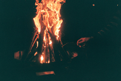 beauty, black, bonfire, boy, camp, fire, hand, light, photography, vintage, yellow