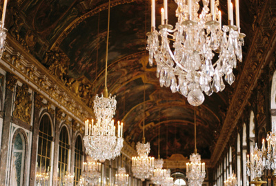 beauty, chandelier, france, golden, hall