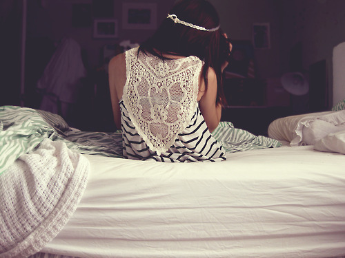 bed, black, braid, brunette, cream