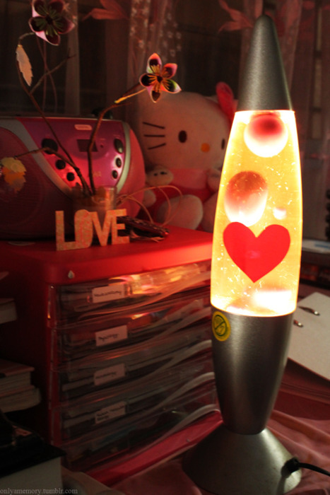 bedroom, flowers, heart, lava lamp, love