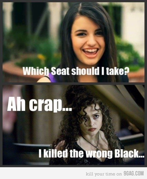 bellatrix lestrange, black, friday, fun, funny, harry potter, kill, killed, photo, rebecca black, sirius black, typography